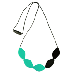 Large Tulip Bead Necklace - Black/Turquoise