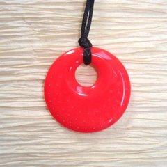 Chewable Pendant Necklace - Bushfire Red