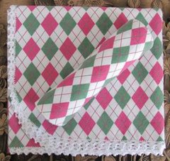Heirloom Bunny Rug & Burp Cloth - Pink & Green Argyle