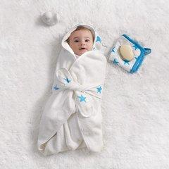Aden + Anais Baby Bath Wrap - Fluro Blue Stars