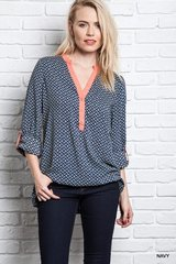 Navy Printed V-Neck Blouse