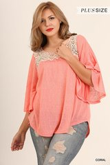 Coral Butterfly Sleeve Blouse