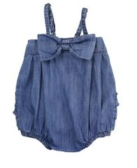 Ruffle Butts Denim Bow Front Bubble Romper