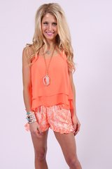 Buddy Love Izzy & Lola Fiona Crush Neon Orange Layered Tank