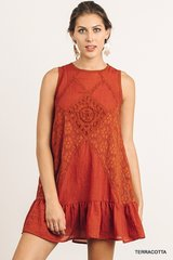 Terracotta Sleeveless Embroidery Dress