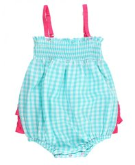 Ruffle Butts Seafoam Gingham Rouched Bubble Romper