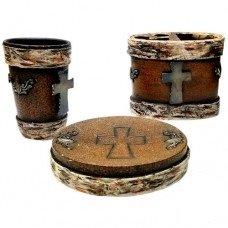 Birch with Metal Cross 3pc Bathroom Set