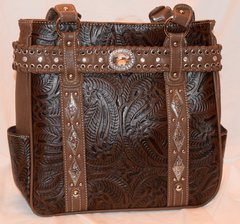 Brown Tooled Design Purse
