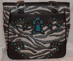 Zebra with Turquoise Cross Purse