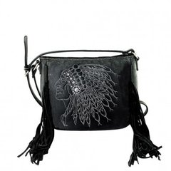 Leather Cross Body Purse with Indian and Fringe