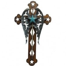 Cross with Turquoise Star and Metal Wings