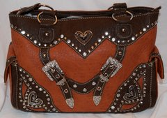 Orange with Brown Trim Concealed Carry Purse