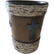 Birch with Metal Cross Waste Basket