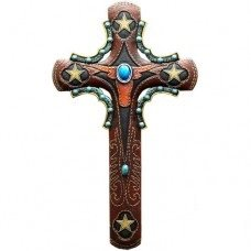 12in Longhorn with Turquoise Wall Cross