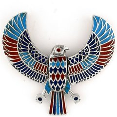 Red and Blue Sterling Silver Heru Pendant and Chain