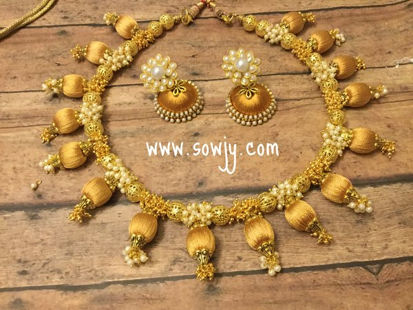 Silk Thread Choker Necklace In Gold with Silk Thread Jhumkas