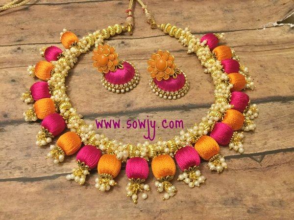 Handmade Silk Thread Choker Necklace In Orange And Pink