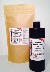 SPECIAL 100% Organic Hemp Seed Oil 500ml + Hulled Hemp Seeds 454g
