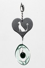 0835 Cat in Heart Metal Mini Chime