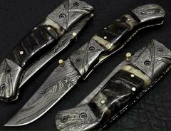 Damascus Antique Folding Blade