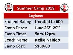 Chess summer camp for unrated to 600 June 25 to 29, 2018