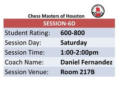 Chess Masters of Houston, session 6D for 600-800 rated players