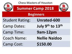 Summer Camp for Beginner, July 9th to 13th 2018