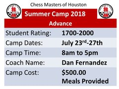 Summer Camp advance, July23rd to 27th 2018