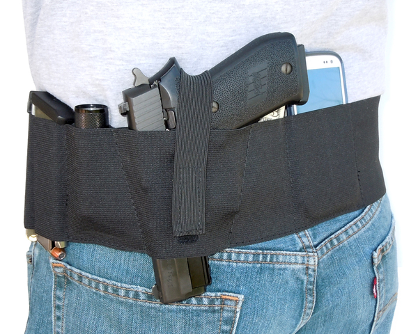 Hidden Heat 4 - Elastic Belly Band Concealed Carry Gun Holster - BlackG