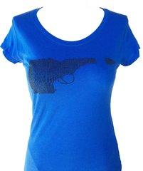 Idaho Gun Black Rhinestone T-shirt - Blue
