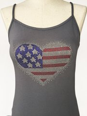 Bling American Flag Heart - spagetti strap tank top - Grey