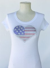 American Heart Bling T-Shirt - White