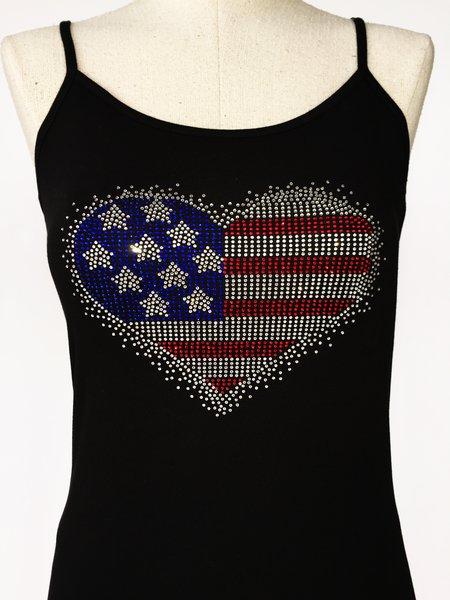 Bling American Flag Heart - spagetti strap tank top - Black