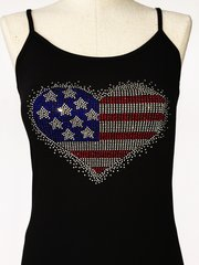Bling American Flag Heart - spagetti strap tank top - Black