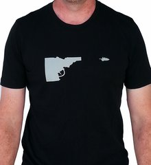 Mens Idaho Gun T-shirt - Black/Gry