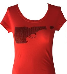 Idaho Gun Black Rhinestone T-shirt - Red