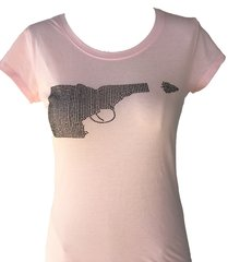 Idaho Gun Black Rhinestone T-shirt - Pink