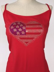 Bling American Flag - spagetti strap tank top - Red