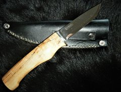 "10"" Spalted Curly Maple Knife with Helle Blade and Leather Sheath"