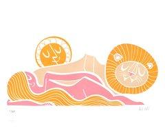 girl lion sun print