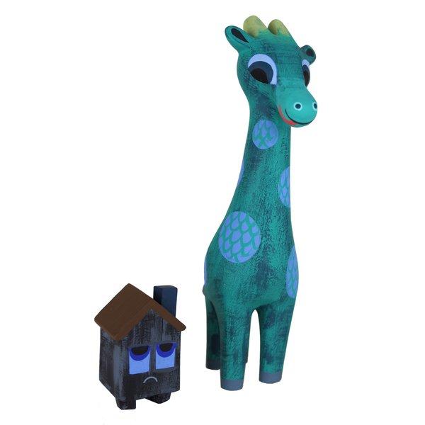 giraffagon and house resin figure set