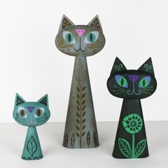 cat bust trio