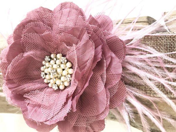 Mauve pink flower hair clip bridal hair clip feather hair clip mauve pink flower hair fascinator mightylinksfo