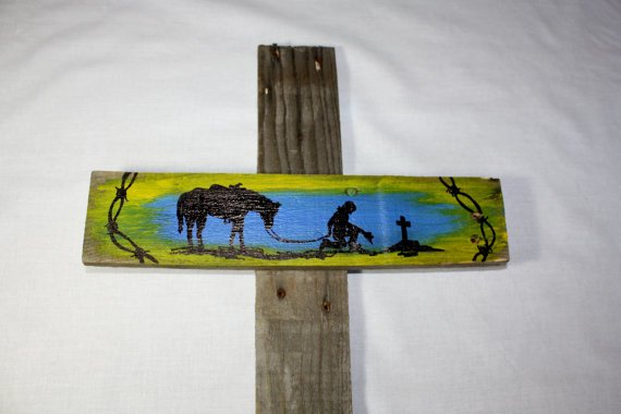 Hand painted cowboy wooden cross faith easter decor religion hand painted cowboy wooden cross faith easter decor religion up cycled pallet negle Images