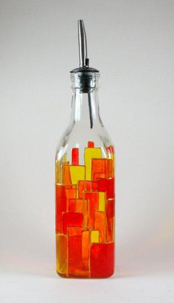 Oil Bottle Vinegar Bottle Soap Dispenser Hand Painted