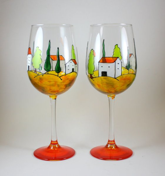 One tuscany italy landscape hand painted wine glass for What paint do you use to paint wine glasses