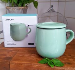 Tundra Mint Stoneware Mug with SS Infuser & Lid
