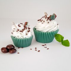 Handmade Stella Star Chocolate Mint Cupcake Candles
