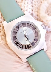 Vice Versa ~ Metallic See-Thru Case Quartz Watch with a Mint Leather Band