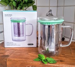 Tundra Glass Mug with Infuser & Mint Lid